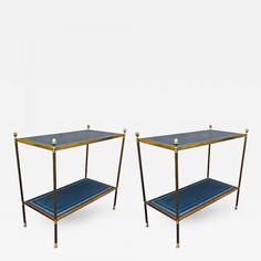 Maison Jansen Pair Two-Tier Neoclassic Side TableGold Adorn Leather Top - Galerie Andre Hayat