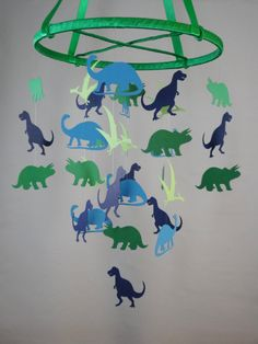 Dinosaurs Decorative Baby Mobile in Blues and by whimsicalaccents Modern Baby Mobiles Handmade Paper Mobiles Ceiling Decor Nursery Decoration Hanging Baby Mobile Crib Mobile Baby Shower Gift Photo Prop Birthday Gift Classroom Decor Blue and Green Boy Girl Bedroom Triceratops Trex Brontosaurus