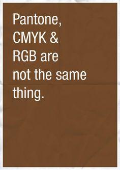 Pantone, CMYK & RGB