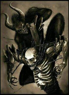 Worlds of Fantasy Ange Demon, Demon Art, Evil Tattoos, Satanic Art, Demon Tattoo, Skull Pictures, Arte Obscura, Evil Art, Dark Art Drawings