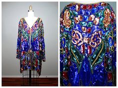 STUNNING Fully Sequined Long Evening Jacket / Royal by braxae