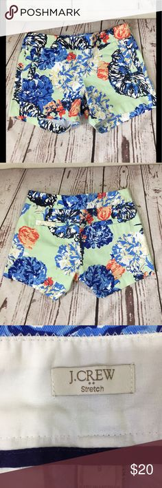"🌼J.Crew Chino Shorts Floral Side Zip 5"" Inseam • J.Crew Chino Shorts Floral Side Zip 5"" Inseam  • 97% Cotton 3% Spandex  • Measurements: Size 8 - waist 33, hips 40, rise 8.5, inseam 5 • Nonsmoking home J. Crew Shorts"