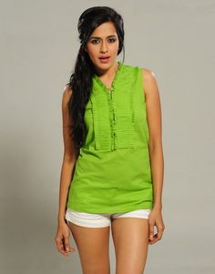 Accordian Pleats Sleeveless Blouse ----- Original Price: Rs.990 - Azure