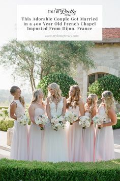 Imagine getting married in a 400-year-old French chapel imported from Dijon, France with chandeliers and a 16th century stone fireplace... yes, we're speechless too 🤭 On SMP you'll find all the epic details from this dream day including a specialty cocktail 🍹 a dramatic pergola of dripping florals and greenery, and the prettiest string lights that sparkled down on guests ✨  LBB Photography: @joelserrato  #weddinginspiration #californiawedding #outdoorwedding #weddingdecorideas