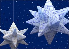 Fold your holiday wishes into a beautifully engineered origami card. It features origami blueprint stars on a blue background. Suitable for many occasions.