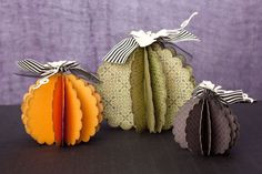 3-D pumpkin decor made easy with the Thanksgiving key of the Cricut® Artiste cartridge. #CTMH
