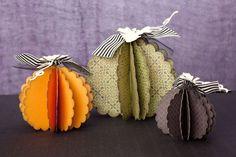 3-D pumpkin decor made easy with the Thanksgiving key of the Cricut® Artiste cartridge. #CTMH