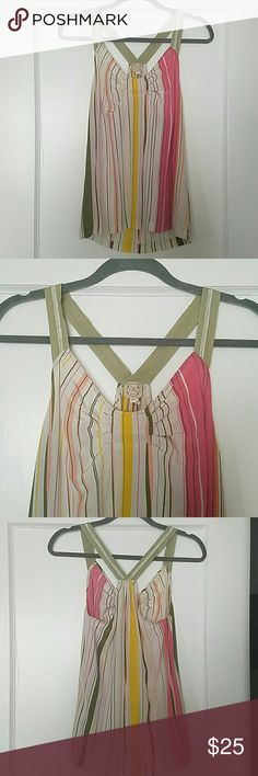 Xs striped tank top Very feminine and delicate tank. Material is soft and has some stretch; 100% seda. Hits at the hip Tea and Honey  Tops Tank Tops