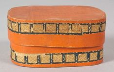 Miniature Wallpaper Covered Bandbox, America, early 19th century, the oblong wooden box covered with orange paper decorated with two bands with blue squares and white flowers, ht. 2 1/4, wd. 3, lg .4 1/2 in.