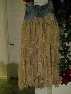Belle Bohémienne bohemian jean skirt ruffled by bohemienneivy