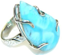 $78.85 Mystic Sky!! Light Blue Larimar Sterling Silver Ring s. 11 at www.SilverRushStyle.com #ring #handmade #jewelry #silver #larimar
