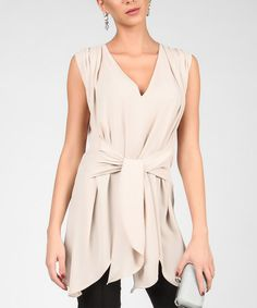 Look at this #zulilyfind! Beige Gathered V-Neck Top #zulilyfinds Was $150 now $66.