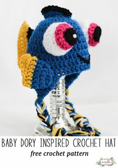 Crochet this fun baby dory character kids baby hat for your favorite finding nemo fan! This fish is fun and quick to make, free crochet pattern!