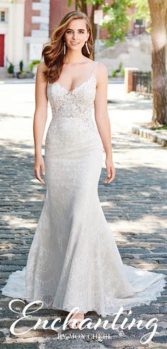 Enchanting by Mon Cheri 120162 Mon Cheri Bridal, Crepe Skirts, Bridal Gowns, Wedding Dresses, Chapel Train, Beaded Lace, Lace Applique, Fit And Flare, Bodice
