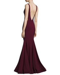 Backless Stretch Crepe Mermaid Gown, Burgundy