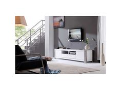 B Modern 'Maya' White High Gloss Stainless Steel TV Stand