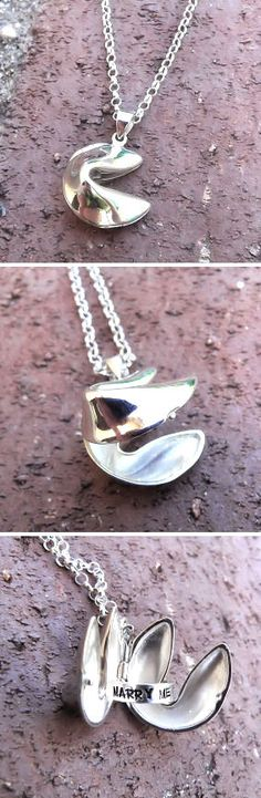 Personalized Openable Sterling Fortune Cookie Necklace