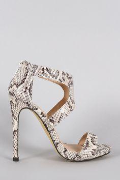Liliana Python Cutout Open Toe Stiletto Heel