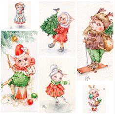 Инга Измайлова SmG pig свинка свинья кабан год свиньи акварель открытка