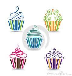 Illustration about Cupcakes stylized swirly design background image vector logo template. Illustration of collection, birthday, dessert - 60954370 Cupcake Vector, Cupcake Logo, Cupcake Tattoo Designs, Cupcake Tattoos, Baking Tattoo, Brochure Design, Logo Design, Pastry Logo, Cupcake Drawing