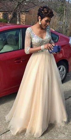 Long Sleeve Tulle Prom Dress,Long Prom Dresses,Prom Dresses,Evening Dress, Prom Gowns, Formal Women Dress,prom dress