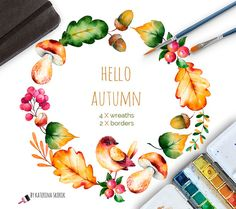 Part 2. Hello, Autumn high quality hand painted watercolor collection! Bright autumn collection with 4 wreaths and 2 watercolor borders clipart. This elements can be used as greeting card for birthday, wedding, invitations, blogs, thanksgiving cards, halloween, website and also combine them to create own unique creations and more! You will receive: 4 wreath in PNG (transparent background) 2 borders in PNG (transparent background) All files are high-resolution (300dpi) You can f...