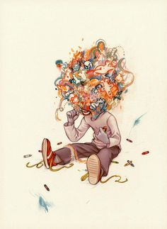 A boy eating crayons draws an imaginative scenario around himself in this surreal illustration by James Jean