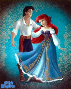 the Little Mermaid Disney Store: Disney Fairytale Couples Designer Collection by Disney designer Steve Thompson:) http://www.stitchkingdom.com/disney-fairytale-designer-collection-disney-63936/