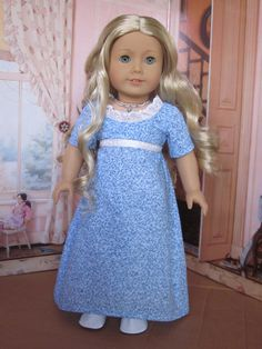 Bue Regency Era Dress for Caroline and American Girl by Sewgoesit, $30.00  {I just love this look, the blue is stunning on Caroline!}