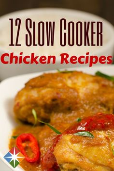12 Chicken Recipes for the Slow Cooker. Tis the season--for slow cookers. Chicken recipes in your slow cooker are mighty tasty--try one of these 12 options tonight! | via @SparkPeople