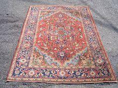 1950s Hand-Knotted Semi-Antique Zanjan Heriz Persian Rug (3293) by carpetshopprincess on Etsy