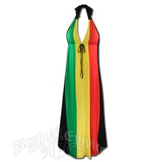 This long halter tie dress has the rasta stripes down the bust and front and is black on the back. There is a black tie under the bust.Hand Wash cold water. Do not dry. 95% rayon