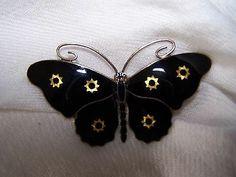 Enamel Butterfly Brooch on Sterling Star Design <3 <3 <3