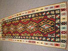 Vintage Turkish Handwoven Wool  Runner Kilim Rug     Large sized 71x59 Inches     No:126