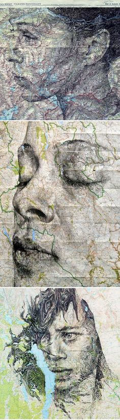 Elaborate New Portraits Drawn on Vintage Maps by Ed Fairburn portraits maps drawing Teen Art, Ap Studio Art, Photography Collage, Sculpture Projects, Call Art, A Level Art, High Art, Vintage Maps, Conceptual Art