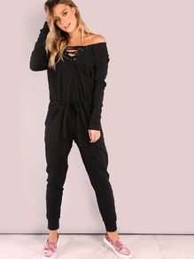 18870872eccb Shop Lazy Lace Up Cotton Jumpsuit BLACK online. SheIn offers Lazy Lace Up  Cotton Jumpsuit BLACK   more to fit your fashionable needs.