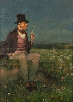 Richard Mauch (1874-1921): 'A Gentleman on a Summer Meadow (with dandelion)'
