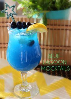 Blue Lagoon Mocktails - Shaina Glenn - New Ideas Virgin Summer Drinks, Virgin Cocktail Recipes, Virgin Cocktails, Virgin Party Drinks, Blue Drinks, Blue Cocktails, Alcoholic Cocktails, Easy Mocktails, Mocktail Drinks