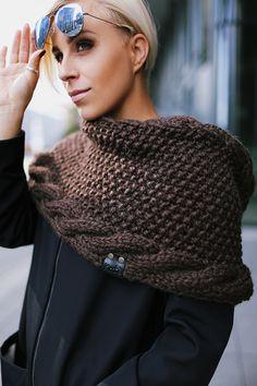 Brown alpaca wool snood | Knitted scarf | Infinity scarf | Chunky scarf | Shalf | Loop scarf | Hooded | Designer's scarf | Kotè design by KoteStudio on Etsy
