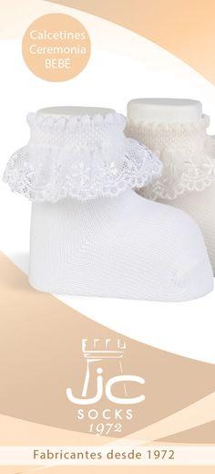 Calcetines bebé ceremonia con puntilla. JC Castellà Fabricantes de calcetines bebé celebración Socks, Hair Bows, Summer Time, Manualidades, Bebe