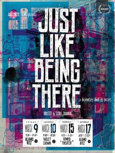 """The official SXSW """"Just Like Being There"""" poster by Landland with a contribution from Jay Ryan."""