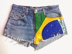 Ideias para customizar short jeans para Copa do Mundo Brasil - bandeira do Brasil
