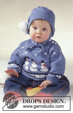 DROPS jumper with snowman motif, socks and hat. Baby Christmas Jumper, Christmas Jumpers, Winter Knitting Patterns, Knitting For Kids, Free Knitting, Pull Bebe, Baby Sweaters, Baby Patterns, Crochet Patterns
