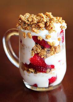 Strawberry Fruit and Yogurt Granola Parfait @Amanda Snelson Snelson   Kevin and Amanda