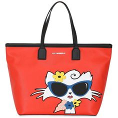 Karl Lagerfeld Women Choupette Beach Tote Bag (585 NZD) ❤ liked on Polyvore featuring bags, handbags, tote bags, red, zip top tote bag, karl lagerfeld handbags, karl lagerfeld purse, red beach bag and red tote bag