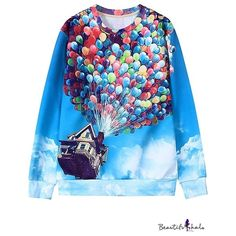 Blue Flying House Balloon Print Long Sleeve Sweatshirt ($21) ❤ liked on Polyvore featuring tops, hoodies, sweatshirts, blue hooded sweatshirt, long sleeve hooded sweatshirt, hoodie sweatshirts, print hoodies and hooded sweatshirt