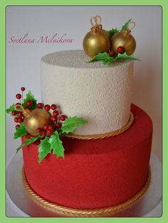 Christmas Cake Designs, Christmas Cake Decorations, Holiday Cakes, Christmas Desserts, Christmas Treats, Christmas Baking, Xmas Cakes, Beautiful Cake Designs, Beautiful Cakes