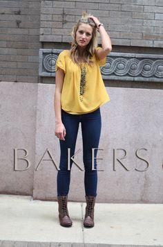 Bakers beautiful blonde model Reagan in Wild Justice Spiked Combat Boots, BelleStyle Bijoux jewelry.