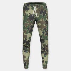 Jigsaw Puzzle Pieces Camo WOODLAND GREEN Sweatpants, Live Heroes