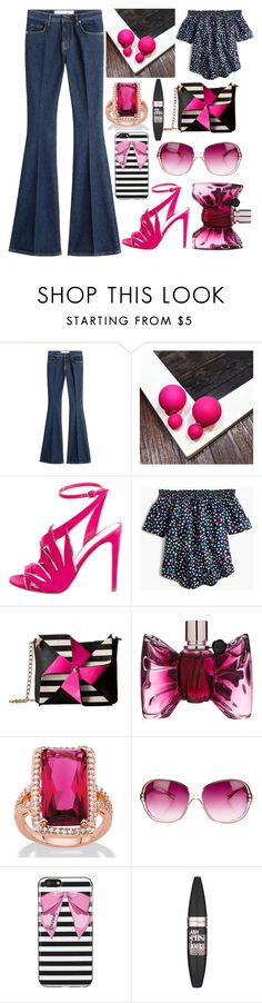 """Hot pink or nothing"" by pulseofthematter ❤ liked on Polyvore featuring dVb Victoria Beckham, Sergio Rossi, J.Crew, Betsey Johnson, Viktor & Rolf, Oliver Peoples, Harrods and Maybelline"